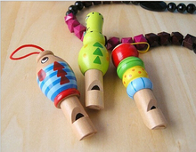 Baby Kid Instrument Toy Cute Pirate Whistle Wooden Keychain Keyring Party Props(China (Mainland))