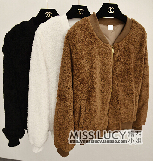 2014 Autumn Fashion Thick Warm Fleece Jackets Womens Korean Designer Brand Fall Plush Coats Outerwears