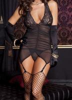 Free Shipping Lady Women Sexy Babydoll Black Transparent Halter Lace G-String Nightwear Sleepwear Bodysuit Garter Belt Lingerie