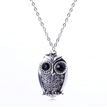 2014 New Arrival Vintage Jewlery fully-jewelled Color Owl Pendant Necklace For Lady Silver Pendant XL5677