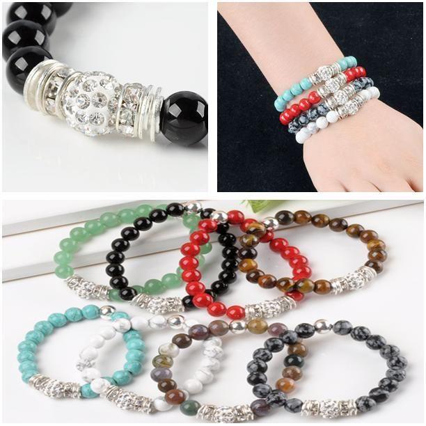 Nature Gem Natural stone Disco Ball Spacer Beads Bracelet Bangle Lucky Stone(China (Mainland))