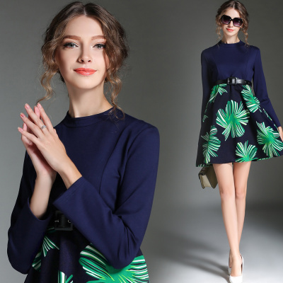 Factory Outlet New 2015 Autumn Fashion Women Elegant Print Patchwork Runway Dresses Casual O-neck Slim Dress Robe With Belt(China (Mainland))