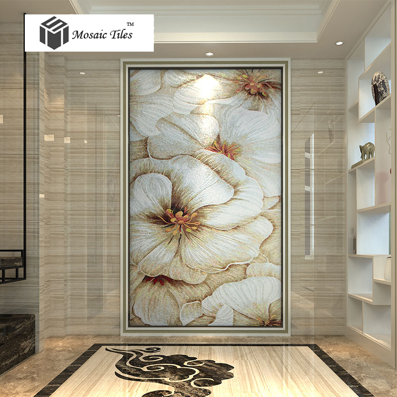 TST parquet jade glass tiles Bisazza Italy craft hand made customize mosaic white cotton rose hibiscus floral hotel wall deco<br><br>Aliexpress