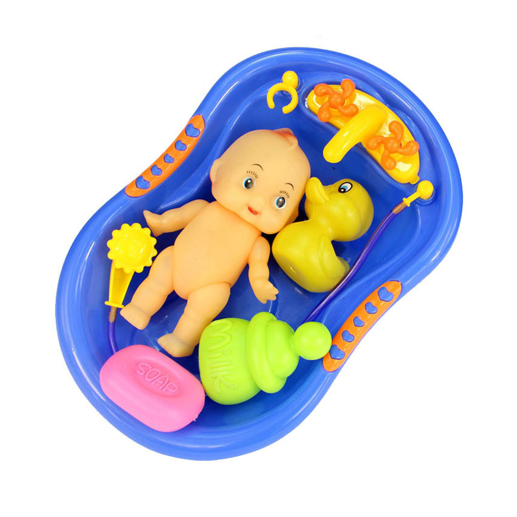 Wholesale- Blue Plastic Bathtub with Baby Doll Bath Toy Set Classic ...