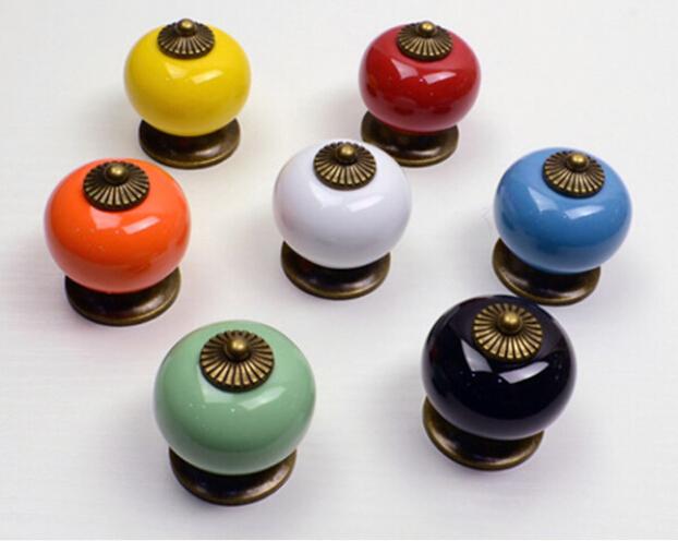10pcs/lot Ceramic Handle Cabinet Door Pull Black Knobs Drawer Locker Cupboard Vintage Retro Gold<br><br>Aliexpress