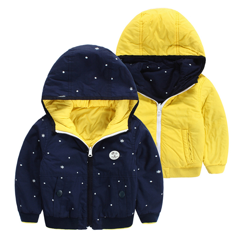 2015 autumn winter coat kids clothes children's jacket boys Polka Dot hooded cotton cardigan baby Casual OUTERWEAR 501 - Sunny Baby fashion Store store