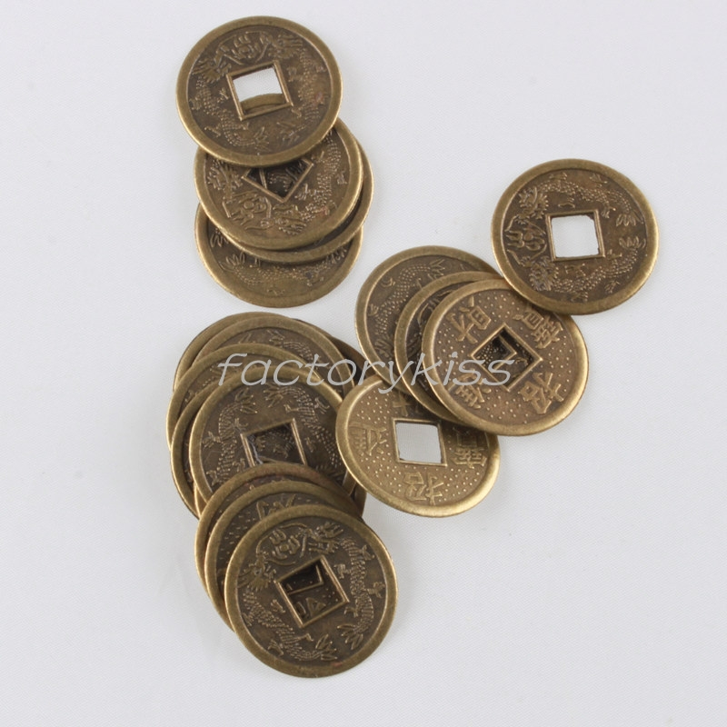 20pcs x Brass Feng Shui I Ching Chinese Wealth Double Dragon Fortune Copy Coins [4008-673](China (Mainland))