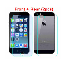Front & Back (2pcs) High Quality Tempered Glass Premium Real Film Screen Protector Guard for apple iphone5 5S protect the glass