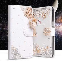 Luxury Rhinestone cases For Doogee X3 Flip Wallet PU Leather Cover Card Slot Holder Stand Glitter Diamond Handmade Phone bags