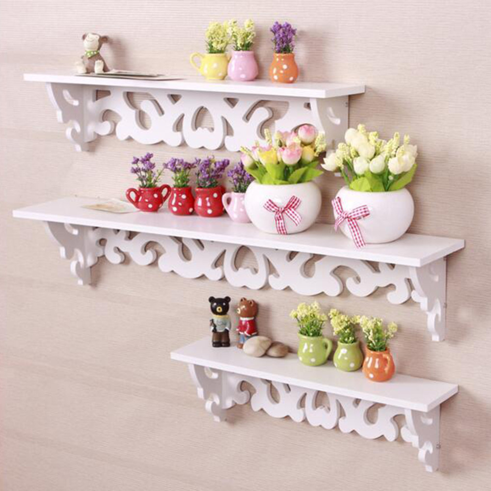 1Set 3 Pcs White Wooden Carved Wall Mounted Shelf Display Hanging Rack Storage Panel Holder S/M/L Sweet Elegant Home Decor(China (Mainland))