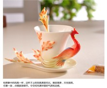 RF04 bone china coffee cup and saucer porcelain enamel porcelain flange ceramic gifts daily necessities auspicious