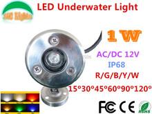 8PCs/Lot Wholesale Underwater Floodlight AC/DC 12V IP68 Waterproof 1W LED Underwater Light Outdoor Spotlights Pond Lamp CE RoHS(China (Mainland))