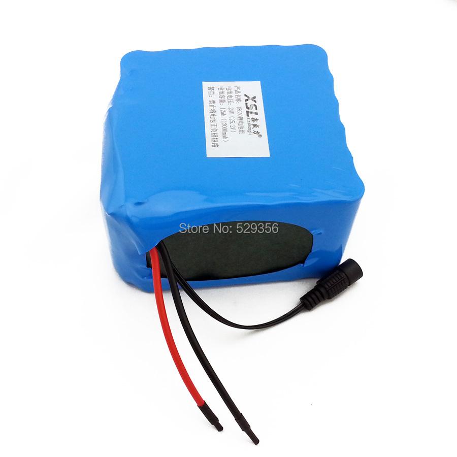 24 В 12 Ач 12000мач электромобилей 18650 литий-ионный аккумулятор портативный резервного питания КСП + 24 В (25.2 в) 1A зарядное устройство