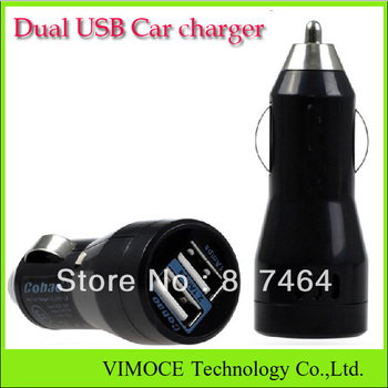 Free shipping-2 Port Dual USB Car Charger for Tablet PC iPhone 4s/5s iPod ipad galaxy all phone 5V-2.1A