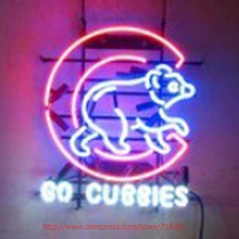 Go Cubbies CUBs Neon Sign Neon Bulbs Led Signs Real Glass Tube Beer Lamp Handcrafted Decorate Beer Bar Pub Advertise Neon 22x17(China (Mainland))