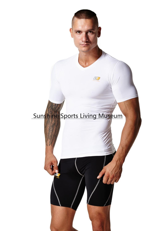 top quality brand StanCaleb new 2015 men t shirts compression shirts Tennis/running Tights Fitness shirts V neck men t-shirt(China (Mainland))