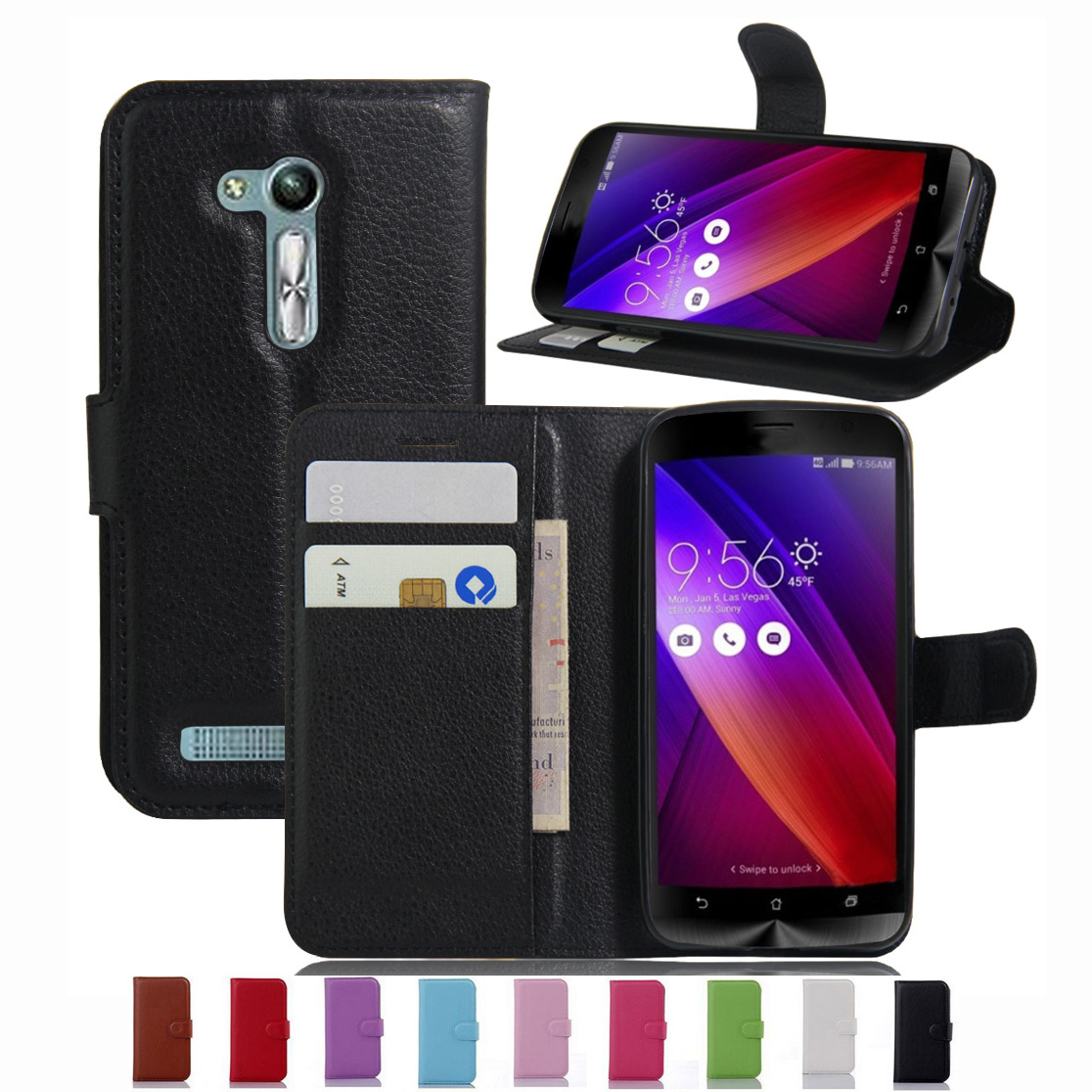 Wallet Case For ASUS ZenFone GO ZB452KG PU Leather Kickstand TUP Back Shell Pink Rose Green Purple Blue Black White Brown(China (Mainland))