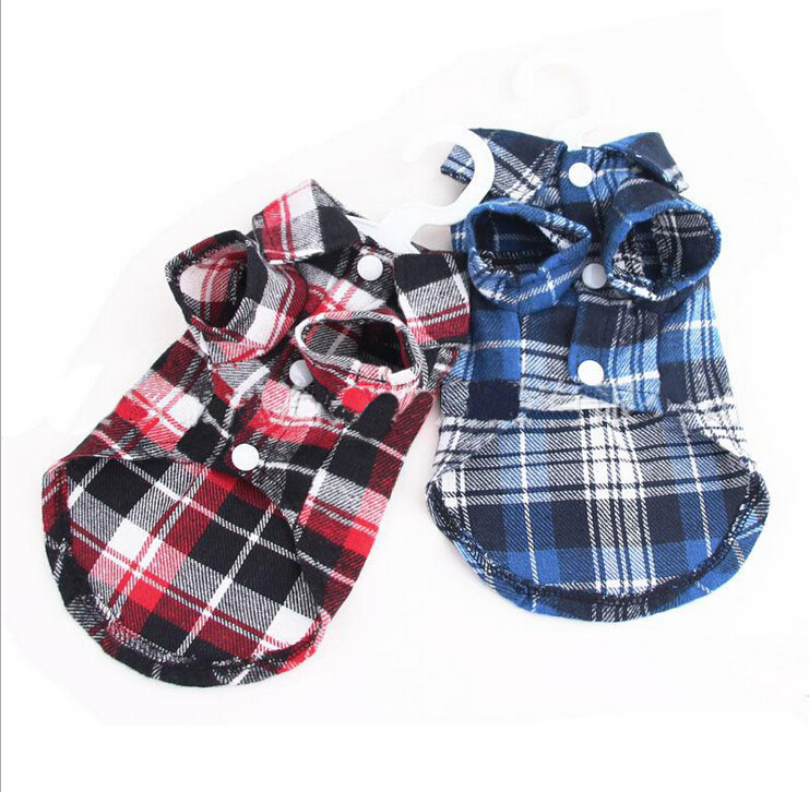 2015 Puppy Pet Dog Cat Costumes Grid Checker Dogs Shirt Tops Clothes Coat Apparel Dress XS S M L XL,chihuahua Clothes For Dogs(China (Mainland))