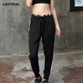 LASPERAL Women Yoga Leggings Pant Black Gray Patchwork Drawstring Loose Tied Feet Sports Tights Pants Women
