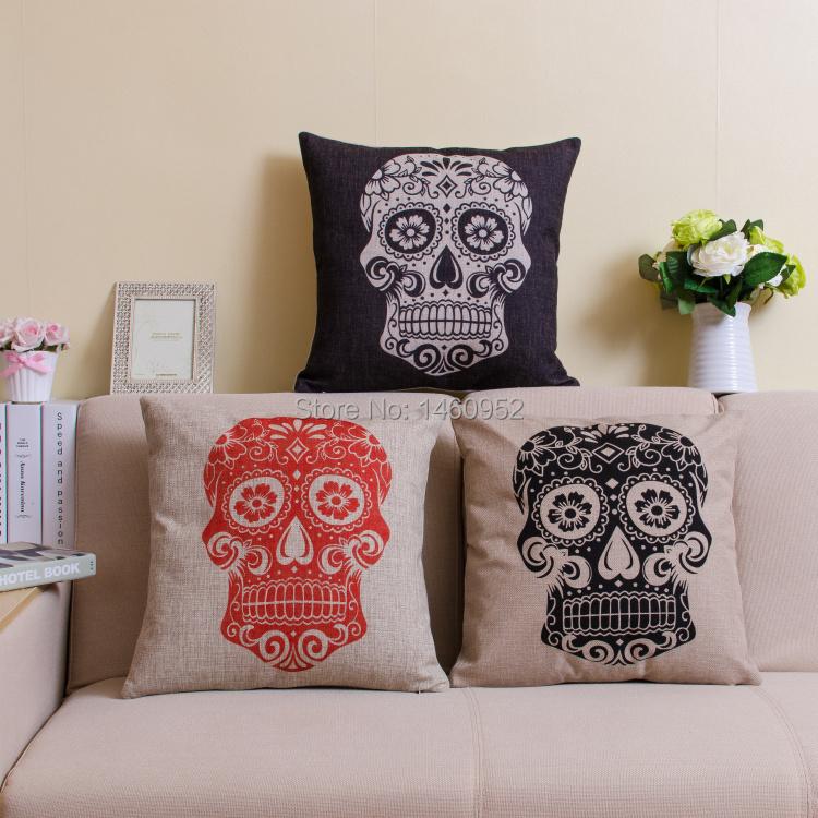2015 Almofadas Man Skull Mexican Printed Ikea Vintage Burlap Cushion Cover Case Decorative Throw Pillows For Car Sear Sofa Home(China (Mainland))