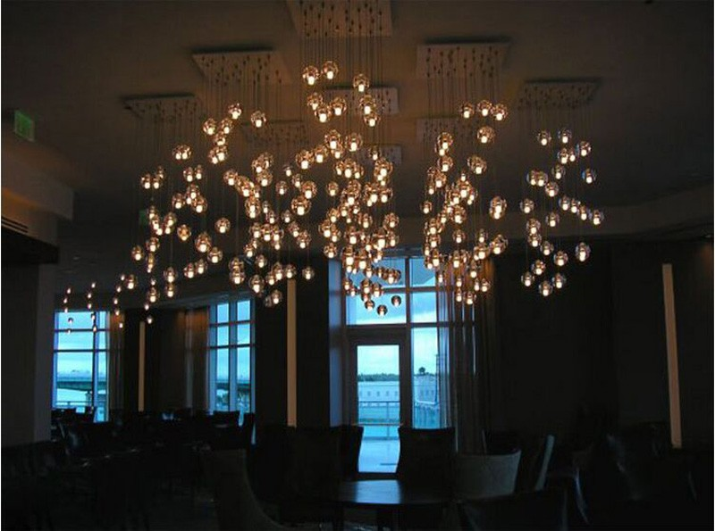 Купить G4 ПРИВЕЛО Кристалл Стеклянный Шар Подвесной светильник AC110V 220 В AC12V100mm диаметр лампы Ресторан лестницы бар кафе droplight Красивые лампы