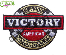 "New Classic Victory Embroidered Patch for American Motorcycle Bar Iron On Patch for Clothing 4""*3"" G0128 Free Shipping(China (Mainland))"