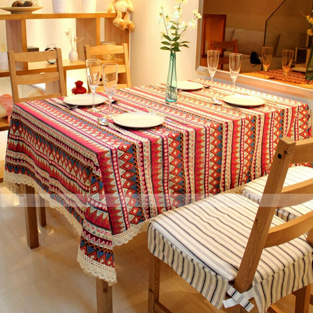 bohemian style lace table overlay cover dining room tea red tablecloth
