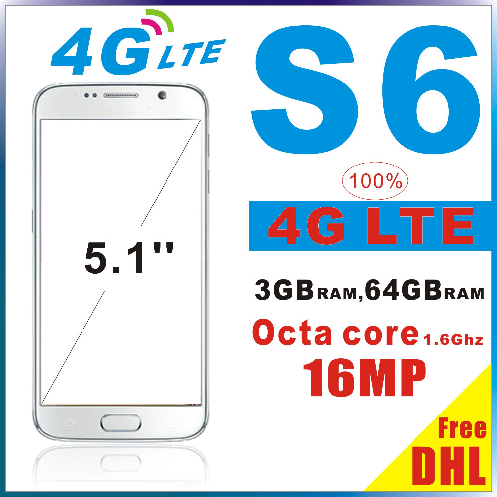 Real 4G LTE S6 Smart Phone Octa core MKT6592 MTK6735 64GB ROM 3GB RAM 16MP Android 5.0.2 lollipop Fingerprint Free DHL(China (Mainland))
