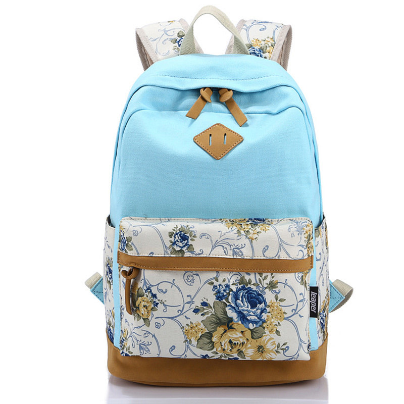 Canvas Match Nubuck Leather Satchel Rucksack Backpacks School Bags for Girls Female Mochila Escolar Printing Backpack School(China (Mainland))