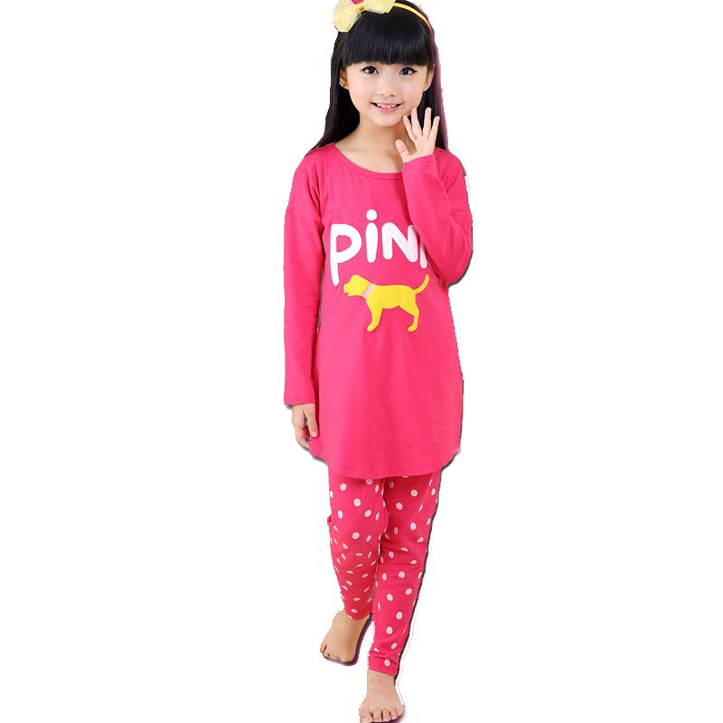 Гаджет  2015 New Arrival Girls 100% Cotton Cartoon Pajamas Kids Print Letter Casual Night Suits Girls Dot Brand Sleepwears , LC349 None Детские товары