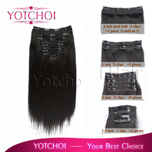 Yotchoi 2# peruvian virgin hair 10pcs wefts clip in hair extensions 100% remy  hair extensions straight peruvian virgin hair(China (Mainland))