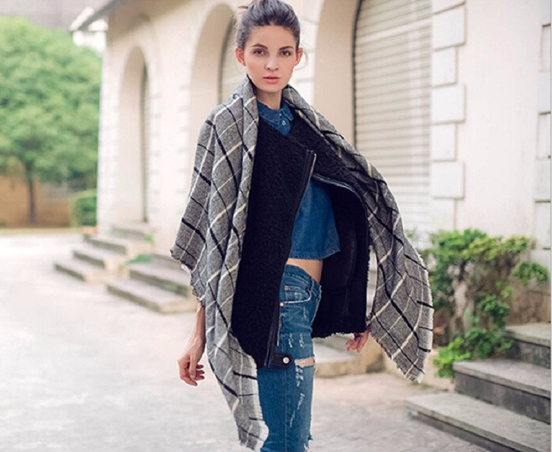 2016 ZA Brand Winter Square Scarf Women Tartan Plaid Cashmere Scarf Blanket Unisex Thicken Wool Wrap Shawl Square Pashmina Cape