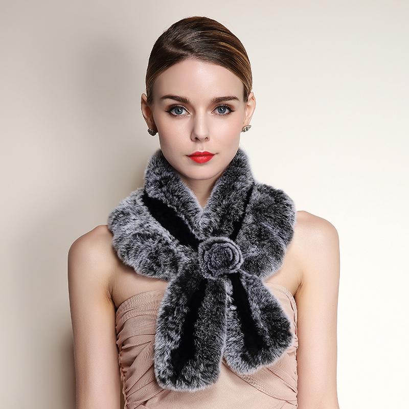 2016 Knitted Rabbit Fur Scarf Women New Fashion Warm Ladies Fur Scarves Brand Autumn Winter
