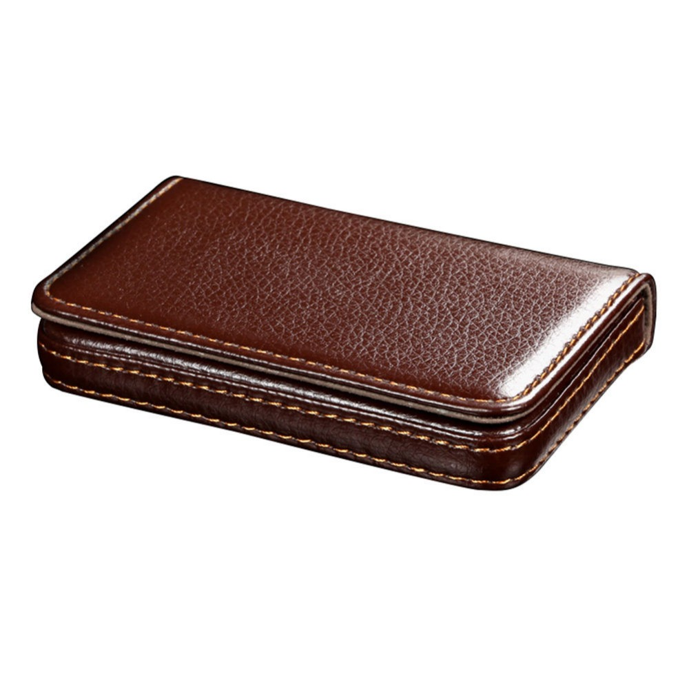 Magnetic lock leather business name card holder organizer