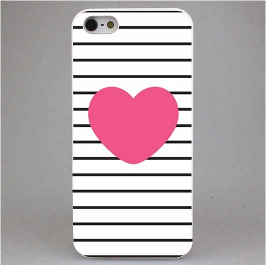 2016 New Striped Golden Heart Glitter Cover mobile Phone bags & Cases in Brand PINK for iPhone6 6S 6Plus
