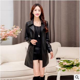 Free shipping autumn fashion leather female long slim suit collar Double-breasted PU leather windbreaker women jacket Large size(China (Mainland))