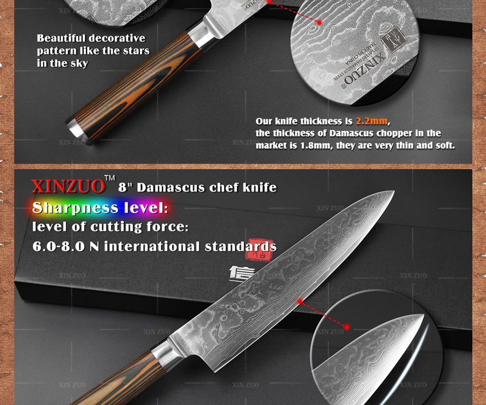 Buy XINZUO 3 pcs Kitchen knives set Damascus kitchen knife sharp Japanese chef paring knife wood handle kitchen tool free shipping cheap