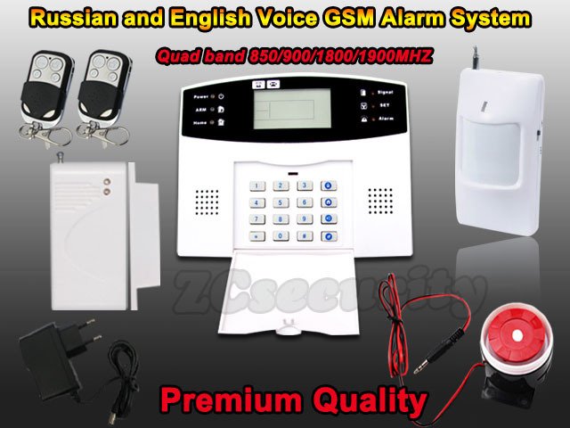 DHL free shipping Wired and wireless Russian English Spanish France language Smart Home Security GSM alarm system(China (Mainland))