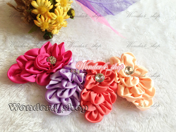 Hair accessory wholesale 60pcs/lot Infant Fabric Satin Flower with Acryl diamond Free shipping 10color for choose<br><br>Aliexpress