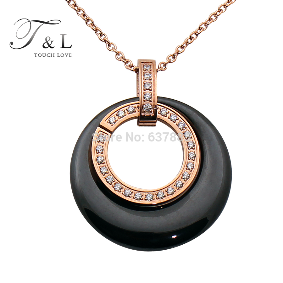 2015 Brand Design two circle black/white ceramic & stainless steel pendant necklace.fashion women/girl jewlery(China (Mainland))