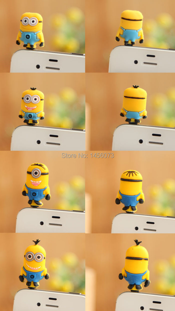 10PCS cartoon anime minion despicable me 2 headset anti dust plug charm earphone jack cell phone accessories 3.5mm General
