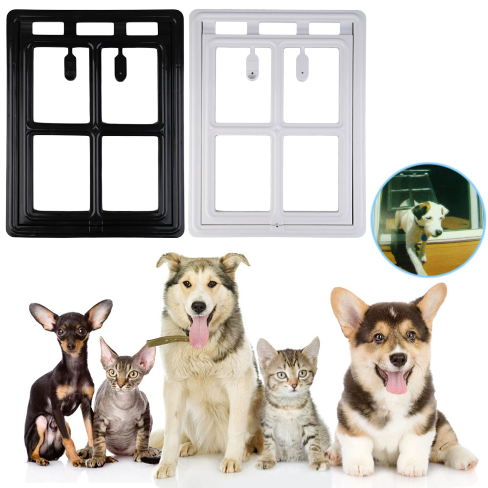 2016 White/Black Lockable Automatic Closing Flap Pet Door for Large Sized Cats Kitty Dogs Pets Popular New(China (Mainland))