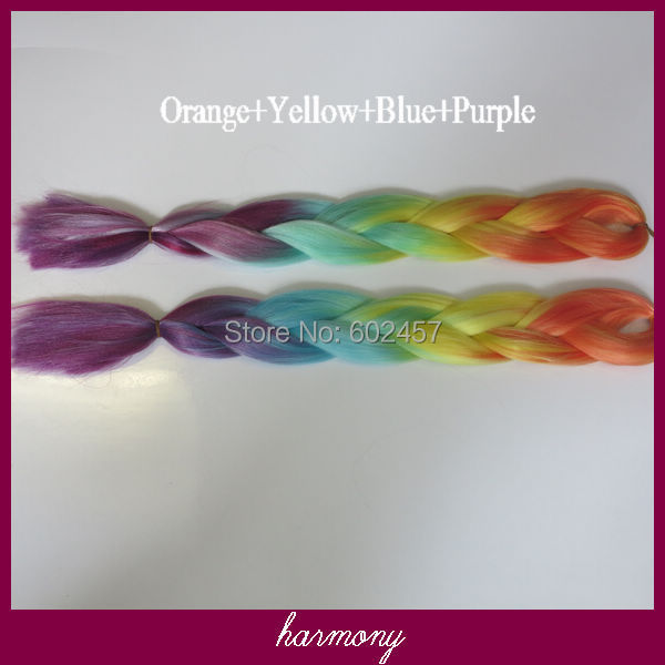 FREE Shipping!!!  STOCK 2pcs/LOT Ombre Colored 100% Kanekalon Jumbo Braid Synthetic Hair---Orange+Yellow+Blue+Purple<br><br>Aliexpress