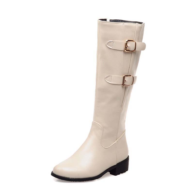 Size 43 Advanced PU  Leather Knee High  Fashion Zip  Round Toe Height Square Heels 3 Colors Boots For Women Boots<br><br>Aliexpress