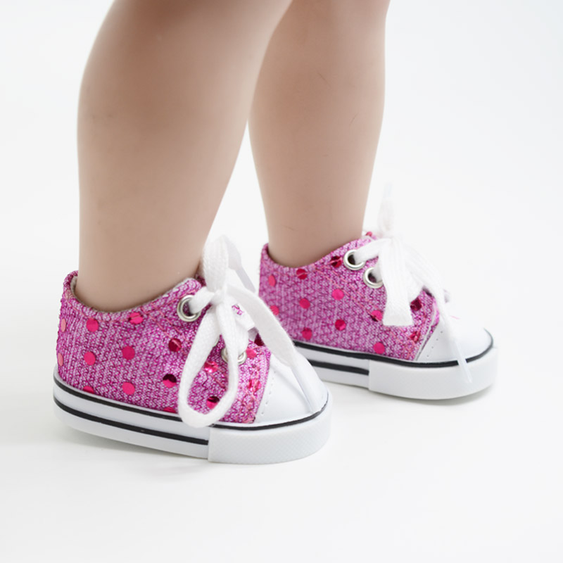 """Hot Pink Sequin Sneakers Shoes made for 18"""" American Girl Doll Clothes(China (Mainland))"""