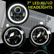 7 inch round LED Headlight Wrangler Harley Toyota FJ Cruiser LandRover Defender High/Low Beam Halo Ring Angel eyes - Shine led lights store