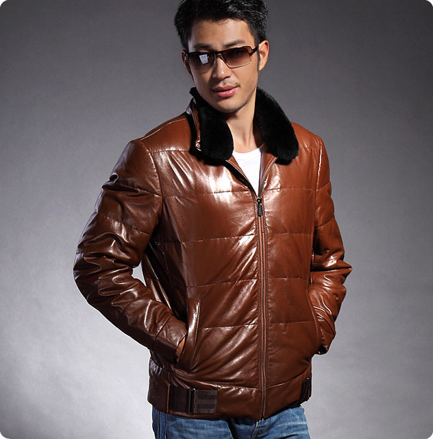 Hot selling sexy tops leather genuine 2013 new winter jacket for men zipper the of leather of jacket with the fur collar HN019