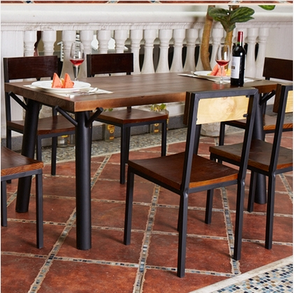 American iron wood table desk workbench hotel to do the old retro dinette tables and chairs - Hotel dining tables ...