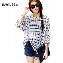 Buy Chiffon Shirts 6XL Plus Size Women Clothing 2017 Novelty Plaid Print Summer Blouses Batwing Sleeve Women's Casual Tops Blusas for $5.97 in AliExpress store