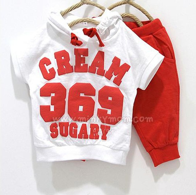 2015 Hottest children Summer clothes sets baby sport suits mouse flag,badge,369 print girls boys wear(China (Mainland))